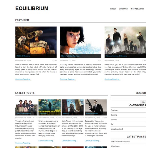 Equilibrium тема WordPress
