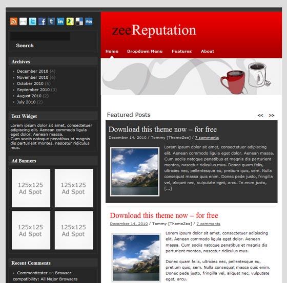 zeeReputation 9цв.схем тема WordPress
