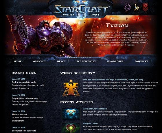 Starcraft тема WordPress