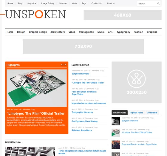 Unspoken тема WordPress