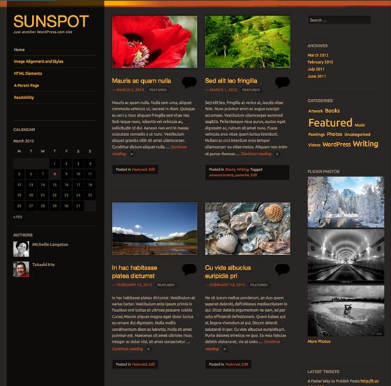 Sunspot тема WordPress