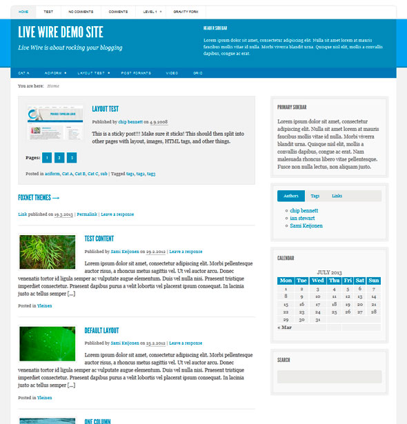 Live Wire тема WordPress