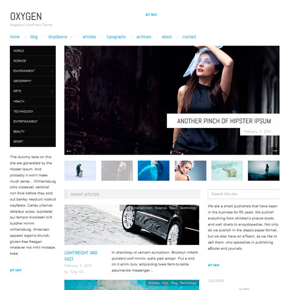 Oxygen тема WordPress