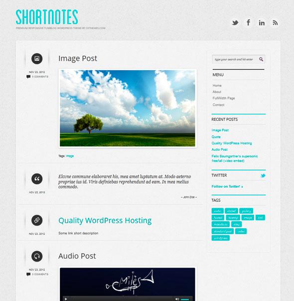 Shortnotes тема WordPress