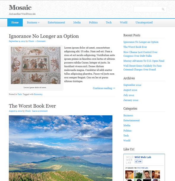 Mosaic тема WordPress