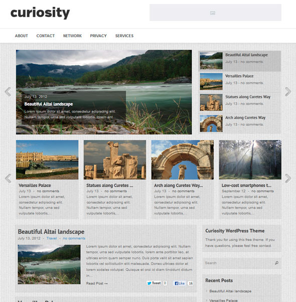 Curiosity тема WordPress