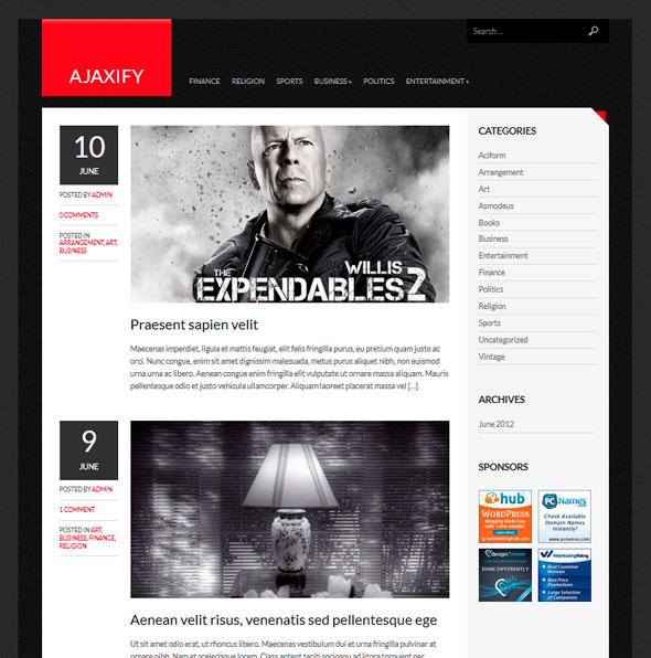 Ajaxify тема WordPress