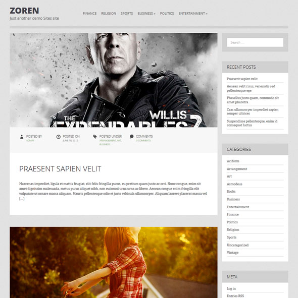 Zoren тема WordPress