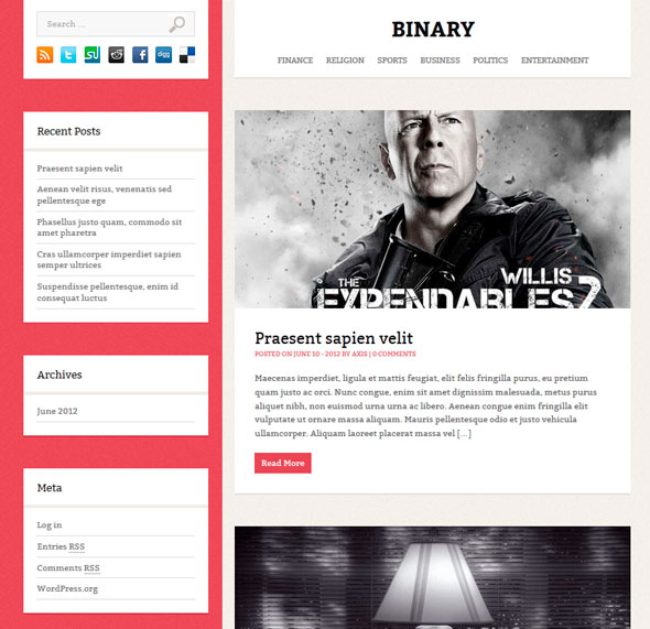Binary тема WordPress