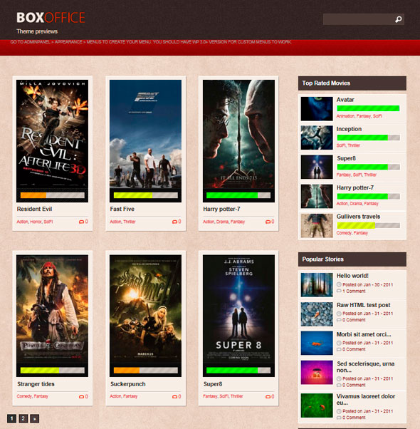 Boxoffice тема WordPress
