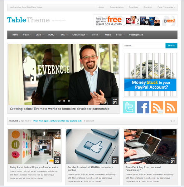 Table тема WordPress