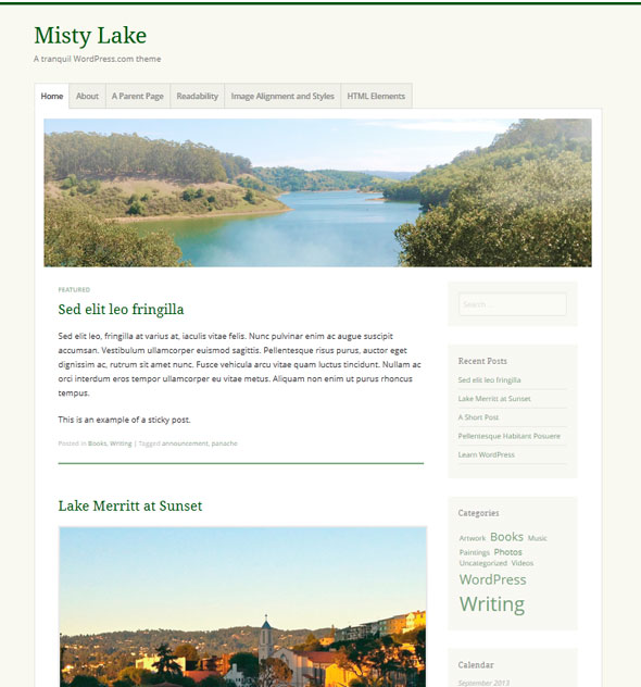 Misty Lake тема WordPress