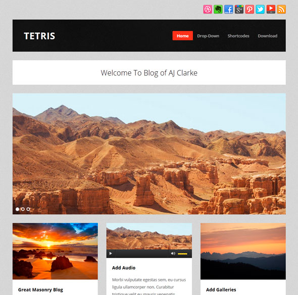 Tetris тема WordPress