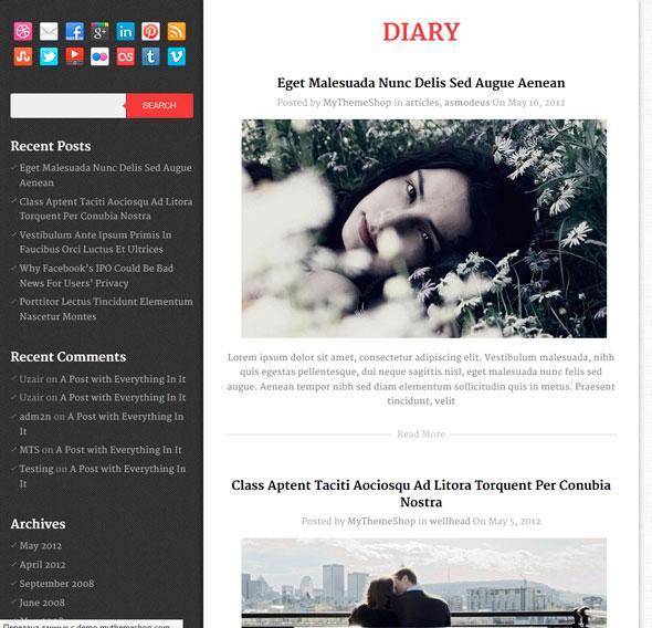 Diary тема WordPress