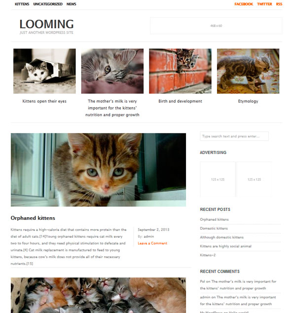Looming тема WordPress