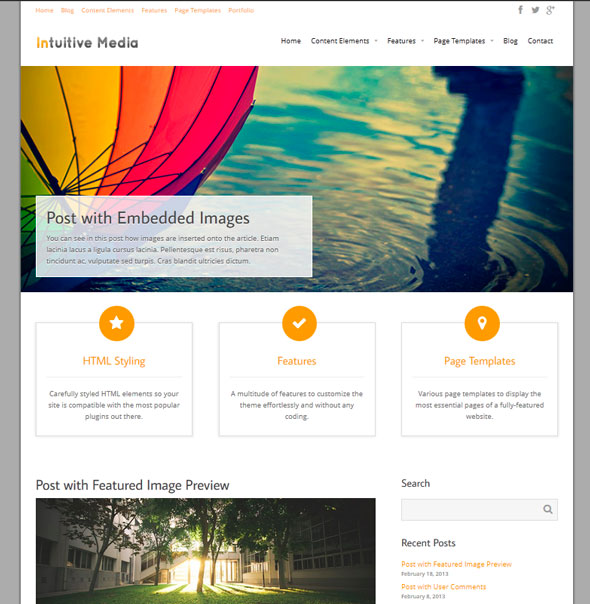 Intuition тема WordPress