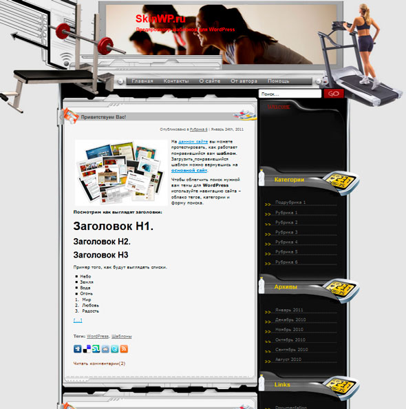 Im Mr Fitness тема WordPress