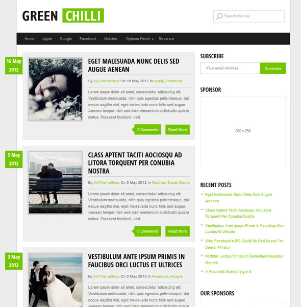 GreenChilli тема WordPress