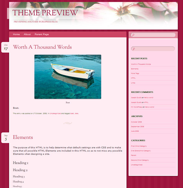 Bouquet тема WordPress