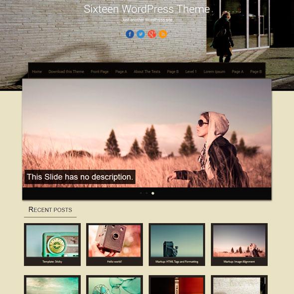 Sixteen тема WordPress