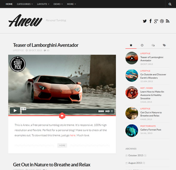 Anew тема WordPress