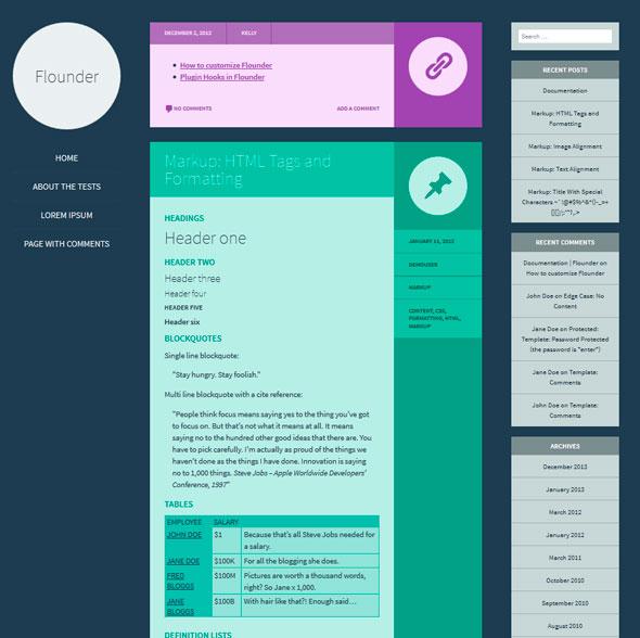 Flounder тема WordPress