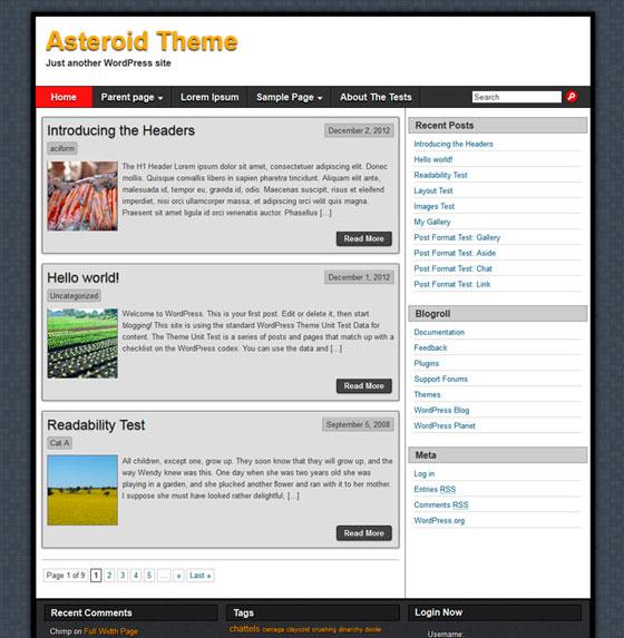 Asteroid тема WordPress