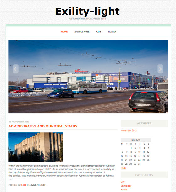 Exility Light тема WordPress