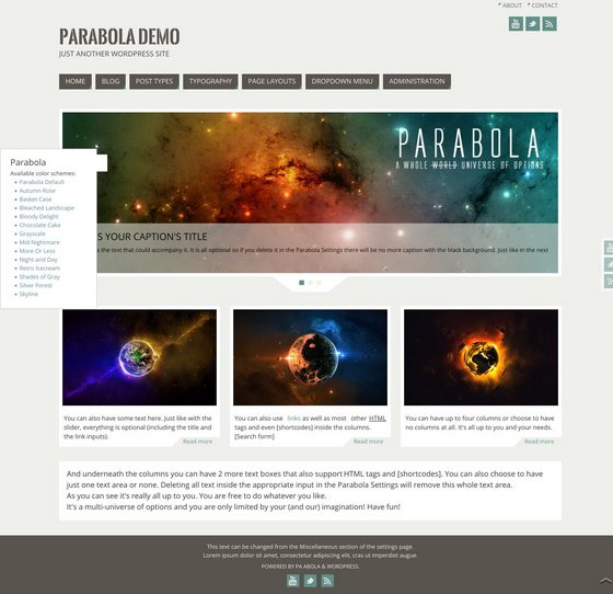 Parabola тема WordPress