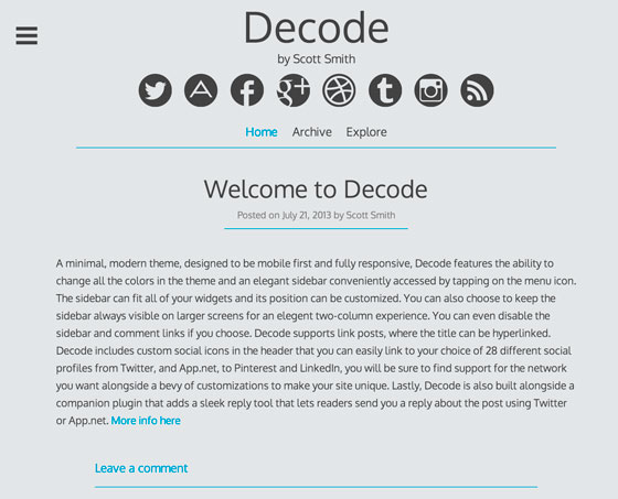 Decode тема WordPress