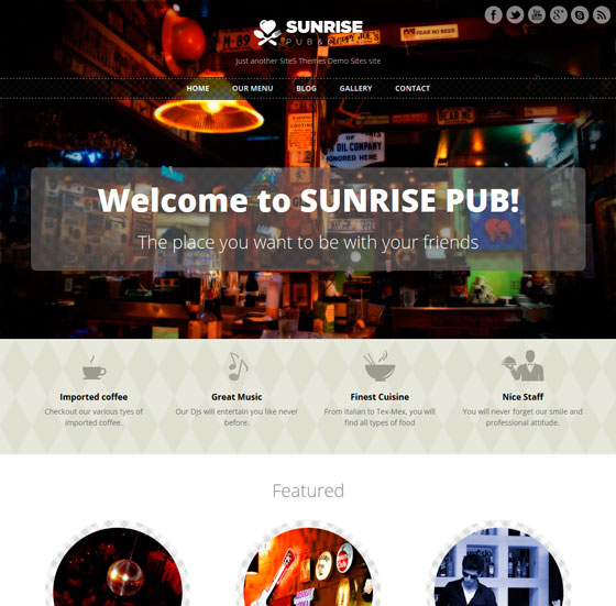 Sunrise тема WordPress