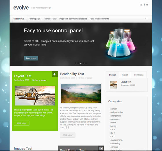 Evolve тема WordPress