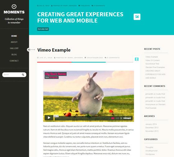 Moments тема WordPress