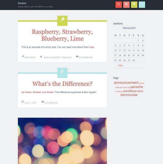 Sorbet тема WordPress